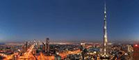 Бурдж-Халифа и центр Дубая в ночном небе