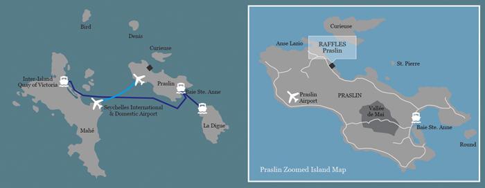 Karte des Raffles Seychelles