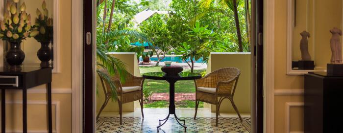 Raffles Hotel d'Angkor(ラッフルズ ホテル ダンコール)のカマのリビングルーム