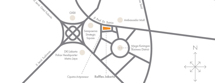 Map and Directions at Raffles Jakarta