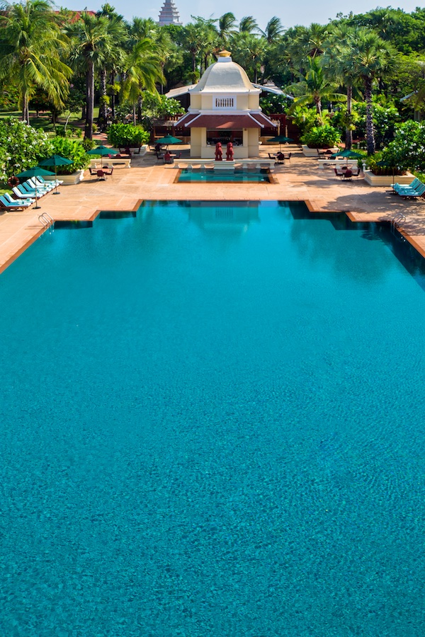 The mythical swimming pool of the Raffles Grand Hotel d'Angkor
