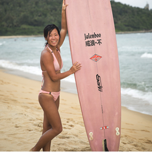 surf instructor Yan Zhu at Riyue Bay