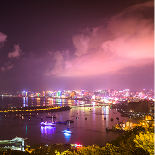 The futuristic cityscape in the port city of Sanya