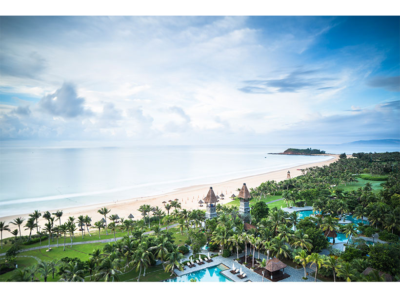 The view from a Presidential Suite at Raffles Hainan overlooking Clearwater Bay