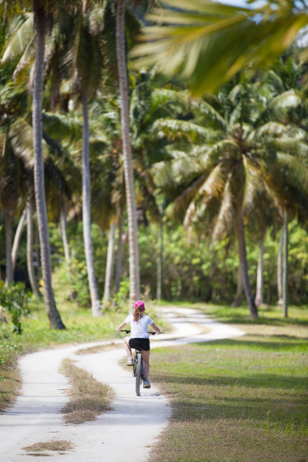 Eloise explores La Digue by bicycle