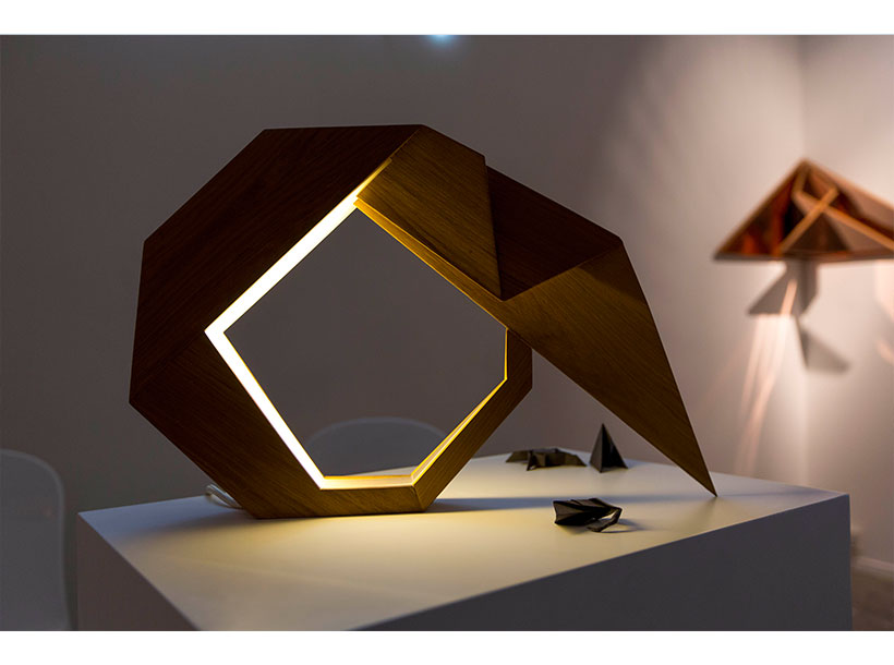 origami-inspired teak lamp by Aloud Loootah